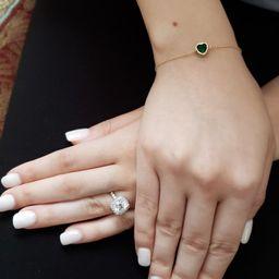 14Kt Gold Emerald Bracelet Emerald Heart Bracelet Emerald | Etsy | Etsy (US)