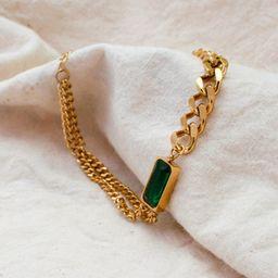 Emerald Bracelet Asymmetric Chunky Stainless Steel 18k Gold | Etsy | Etsy (US)