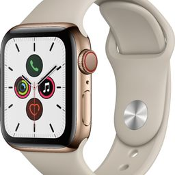 Apple Watch Series 5 (GPS + Cellular) 40mm Gold Stainless Steel Case with Stone Sport Band Gold S... | Best Buy U.S.