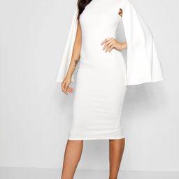 Cape Sleeve Bodycon Midi Dress | Boohoo.com (US & CA)
