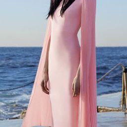 Pleated Cape Sleeve Bodycon Elegant Midi Dress | StyleWe (US)