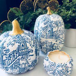 CHINOISERIE PUMPKIN BLUE White Home Decor Fall Seasonal | Etsy | Etsy (US)