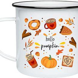 Hello Pumpkin Enamel Camping Mug Autumn Leaves and Pumpkin Please Pumpkin Spice Shaped Coffee Mug...   Amazon (US)