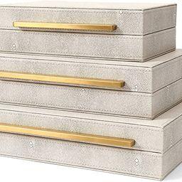 Kingflux Faux Ivory Shagreen Leather Set of 3 Pcs Decorative Boxes, Storage Boxes Jewelry Organiz...   Amazon (US)