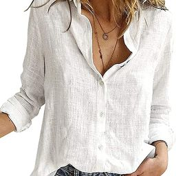 ZATODAY Women's Button Down Blouse Shirts Long Sleeve V Neck Casual Work Tunic Tops   Amazon (US)