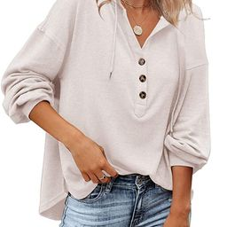 Tutorutor Women's Long Sleeve Deep V Neck Henley Shirts Button Down Drawstring Sweatshirt Hoodies...   Amazon (US)