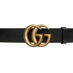 Wide leather belt with Double G buckle | Gucci (US)