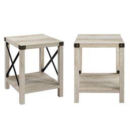 Woven Paths Magnolia Metal X End Table, Set of 2, White Oak - Walmart.com   Walmart (US)