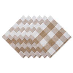 "Set of 6 20"" x 20"" Stone Brown and Cream White Buffalo Check Modern Style Napkins | Walmart (US)"