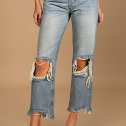 Maggie Faded Blue Distressed Mid Rise Straight Leg Cropped Jeans | Lulus (US)