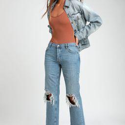 Maggie Light Wash Mid-Rise Distressed Jeans | Lulus (US)