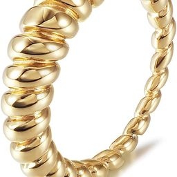 WISTIC Gold Croissant Twisted Rings for Women Girls Dome Chunky Stacking Rings Modern Ribbed Stac... | Amazon (US)