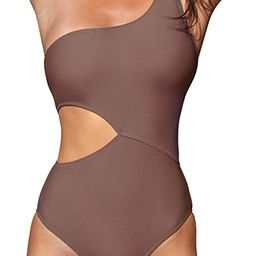 CUPSHE Women's One Piece Swimsuit One Shoulder Cut Out Ribbed Swimwear Bathing Suits   Amazon (US)