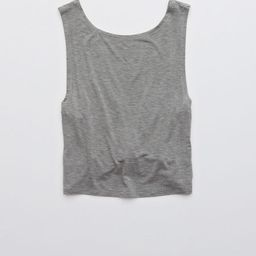 OFFLINE Twist Cropped Tank Top Women's Dark Heather Gray M | American Eagle Outfitters (US & CA)