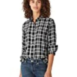 Lucky Brand Women's Long Sleeve Button Up One Pocket Plaid Flannel Shirt, Black Multi, S | Amazon (US)