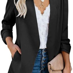 Ofenbuy Womens Casual Blazer Ruched 3/4 Sleeve Open Front Relax Fit Office Lightweight Cardigan J...   Amazon (US)