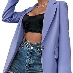 MakeMeChic Women's Casual Lapel Collar Single Breasted Long Sleeve Work Blazer Jacket   Amazon (US)