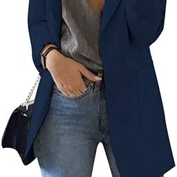 FLITAY Womens Long Sleeve Solid Color Blazer Open Front Slim Fit Work Jackets Coat   Amazon (US)