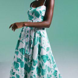 Ivy Leaf Print Woven Belted Midi Dress   Karen Millen UK & IE