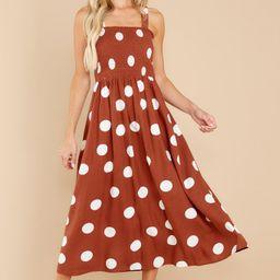 Steal The Spotlight Brown Polka Dot Dress | Red Dress