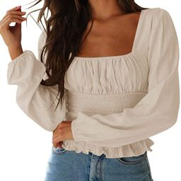 CNJFJ Women's Sexy Frill Smock Crop Top Retro Square Neck Long Sleeve Shirred Blouse Tops   Amazon (US)
