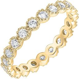 PAVOI 14K Gold Plated Rings Cubic Zirconia Band   Marquise Milgrain Eternity Bands   Gold Rings f...   Amazon (US)