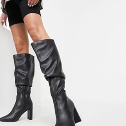 Public Desire Wide Fit Mine slouch knee boots in black | ASOS (Global)