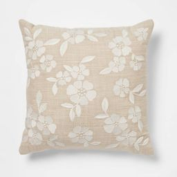 Square Embroidered Decorative Throw Pillow Tan/Cream - Threshold™   Target