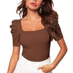 WDIRARA Women's Puff Sleeve Square Neck Short Sleeve Elegant Tee Top   Amazon (US)
