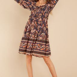 Flying South Indigo And Rust Multi Print Dress | Red Dress