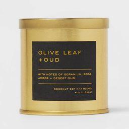 4oz Lidded Metal Jar Black Label Olive Leaf and Oud Candle - Threshold™   Target