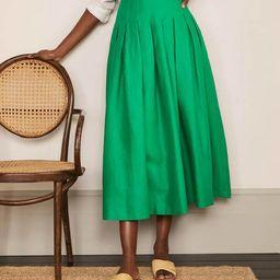 Lydia Linen Pleated Skirt - Sapling   Boden (UK)