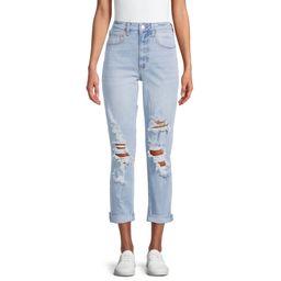 No Boundaries Juniors' High Rise Destructed Girlfriend Jeans | Walmart (US)