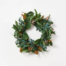 """26"""" Artificial Magnolia Wreath White/Green - Threshold™ designed with Studio McGee 