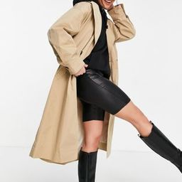 Topshop pleated back trench coat in beige | ASOS (Global)