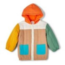 Toddler Color Block Quilted Hooded Jacket - Christian Robinson x Target Beige | Target