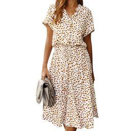Polka Dot Women Dress Ruffled Short Sleeve V Neck Long Boho Dress Summer Puff Sleeve Button Bow H... | Walmart (US)