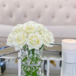 White Rose Faux Arrangement-Ivory Rose Faux Centerpiece-Silk Roses Arrangement Rose-Rose Floral A... | Etsy (US)