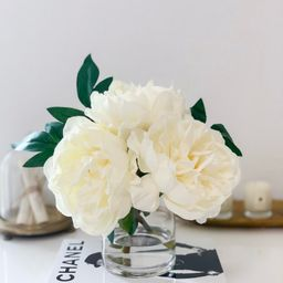 White Peony Arrangement-Artificial Faux Centerpiece-Real Touch Peony Arrangement-Silk Flowers in ... | Etsy (US)