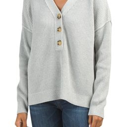 V-neck Henley Sweater With Texture | TJ Maxx