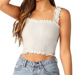 SheIn Women's Casual Frill Smocked Crop Cami Tank Shirred Strap Sleeveless Top | Amazon (US)