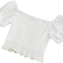 Floerns Women's Eyelet Embroidery Square Neck Puff Sleeve Shirred Crop Tops | Amazon (US)