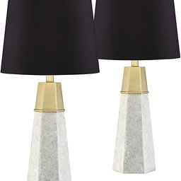 Julie Mid Century Modern Contemporary Table Lamps Set of 2 Faux Marble Gold Column Black Faux Sil... | Amazon (US)