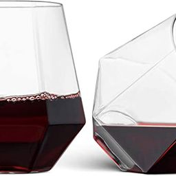 32 Pack Diamond Shaped Plastic Stemless Wine Glasses Disposable 12 Oz Clear Plastic Wine Whiskey ... | Amazon (US)