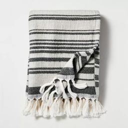 Broken Stripes Knotted Fringe Throw Blanket Black/Cream - Hearth & Hand™ with Magnolia | Target