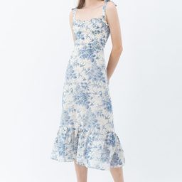 Swallow and Rose Printed Tie-Strap Midi Dress | Chicwish