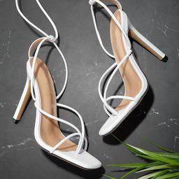 Toe Post Tie Leg Heeled Sandals   SHEIN