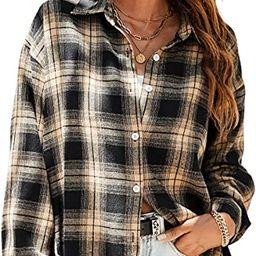 SweatyRocks Women's Long Sleeve Collar Long Button Down Plaid Shirt Blouse Tops   Amazon (US)