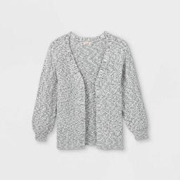 Girls' Long Open Cardigan - Cat & Jack™ Cream/Rust | Target