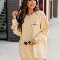 Oh Honey Embroidered Gold Corded Graphic Sweatshirt   The Pink Lily Boutique